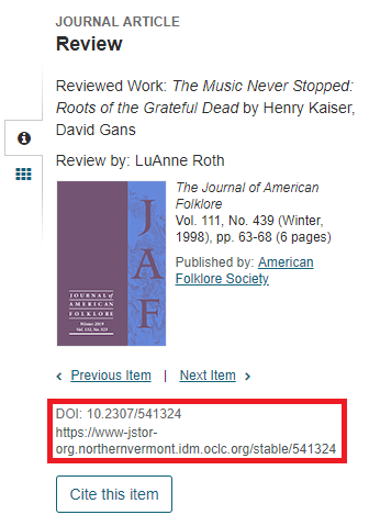 image of permanent URL location in JSTOR databases.